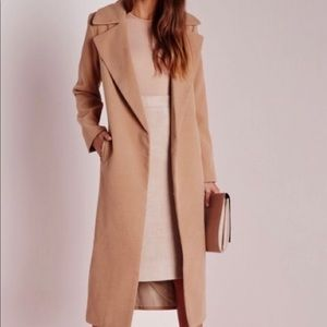 Missguided long camel coat with pockets US size 4